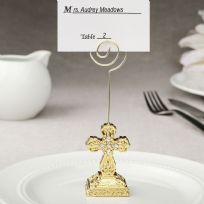 Gold Cross Themed Place Card Holder